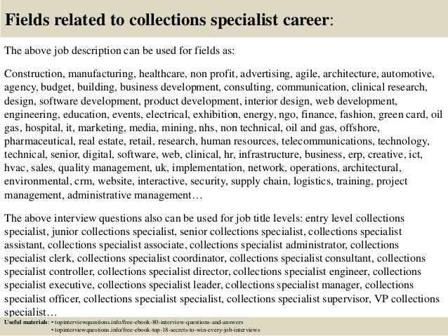 17 fields related to collections specialist