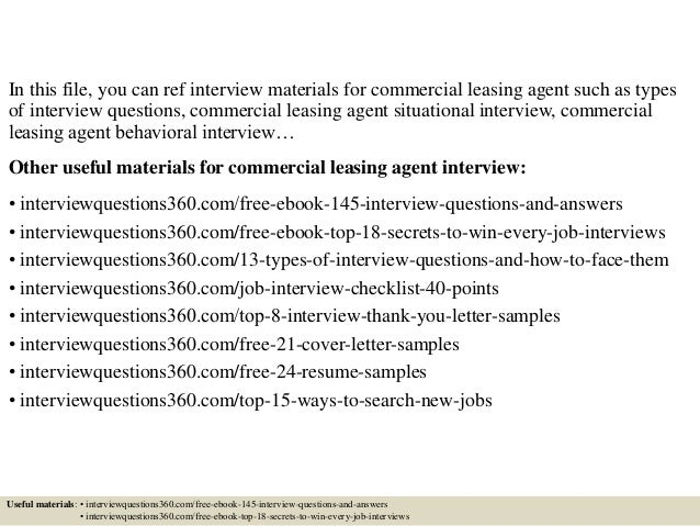 top 10 commercial leasing agent interview questions and answers cover letter leasing agent