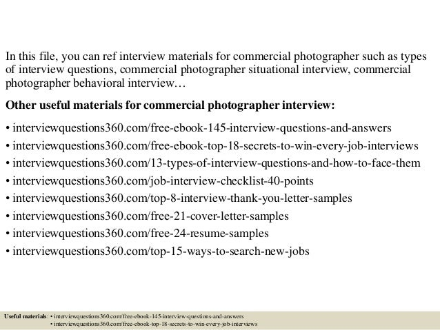top 10 commercial photographer interview questions and answers. Resume Example. Resume CV Cover Letter