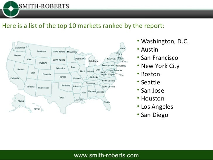 Here is a list of the top 10 markets ranked by the report:                                                • Washington, D....
