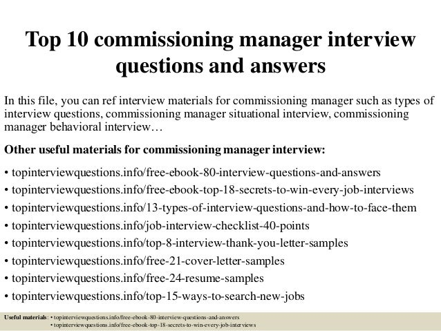 Top 10 commissioning manager interview questions and answers