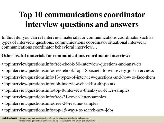 Communications coordinator requirements