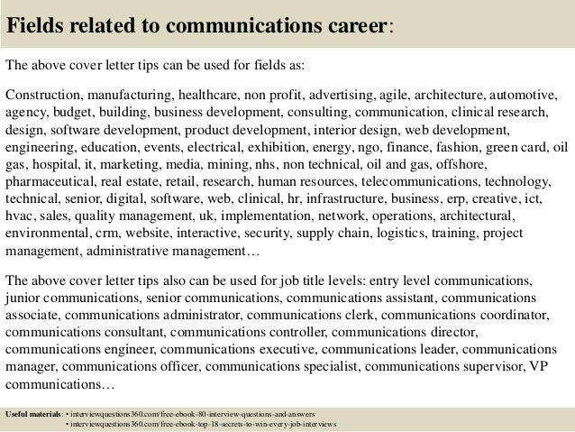 16 fields related to communications career the above cover letter