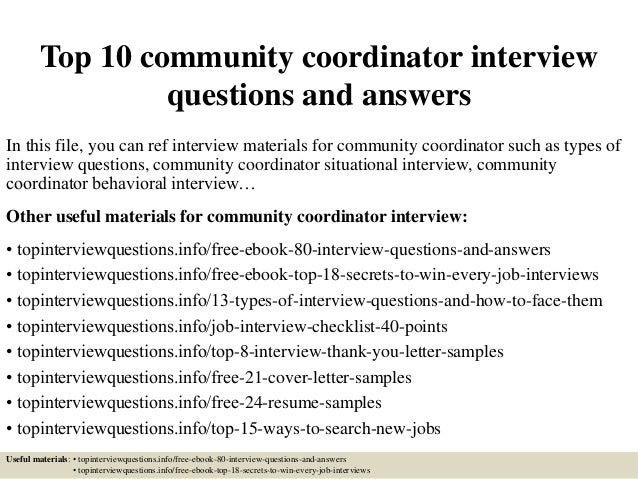 top 10 community coordinator interview questions and answers