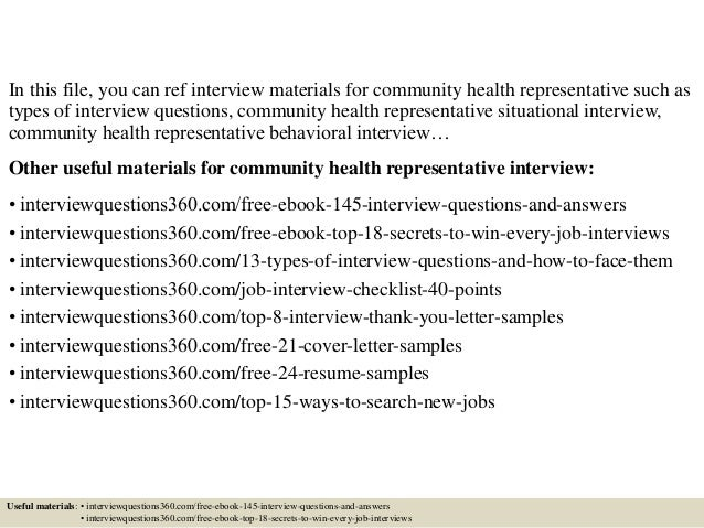 2 in this file you can ref interview materials for community health representative - Community Health Representative Sample Resume