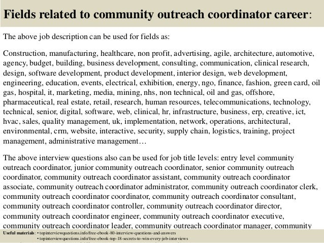 top 10 community outreach coordinator interview questions