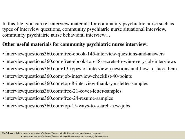 top 10 community psychiatric nurse interview questions and answers - Psychiatric Nurse Cover Letter