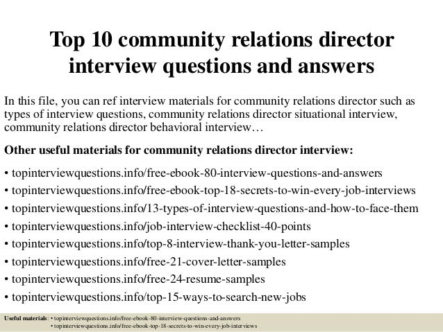 Top 10 Community Relations Director Interview Questions
