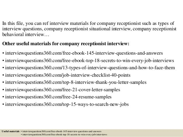 Top 10 company receptionist interview questions and answers