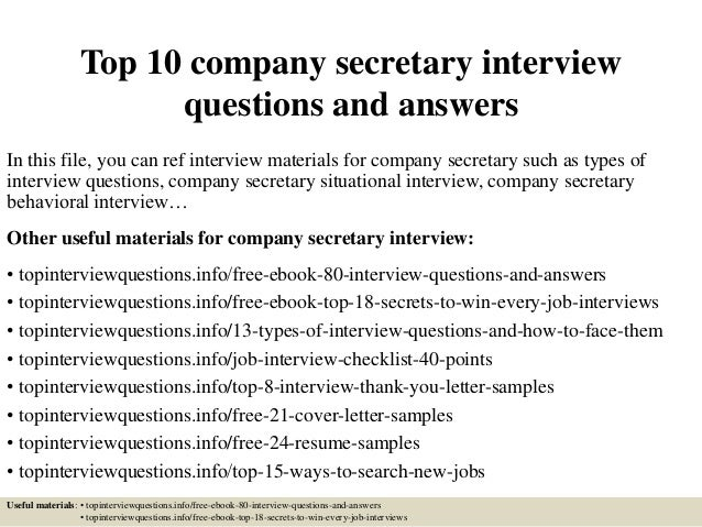 Top 10 Company Secretary Interview Questions And Answers In This File, You  Can Ref Interview ...