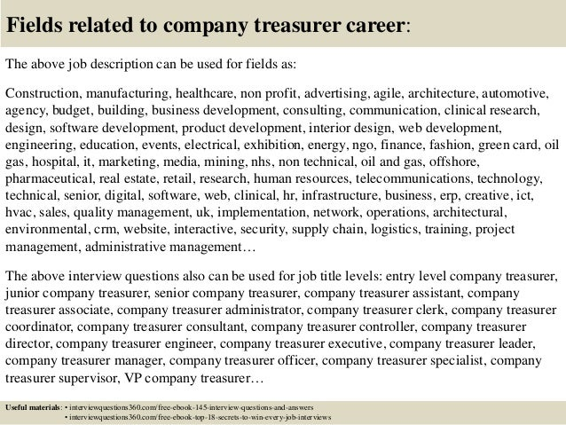 Top 10 company treasurer interview questions and answers