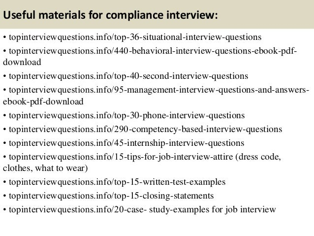 Top 10 compliance interview questions and answers