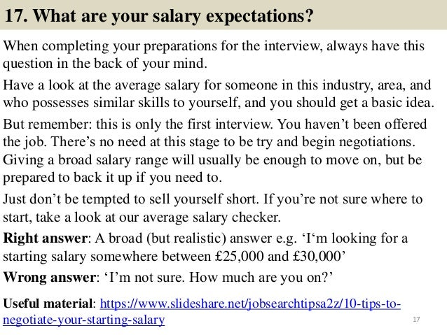 16 17 17 what are your salary expectations - What Are Your Expectations For The Job What Is Your Expected Salary