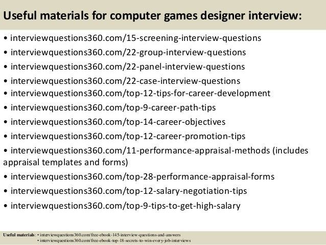 Top 10 computer games designer interview questions and answers