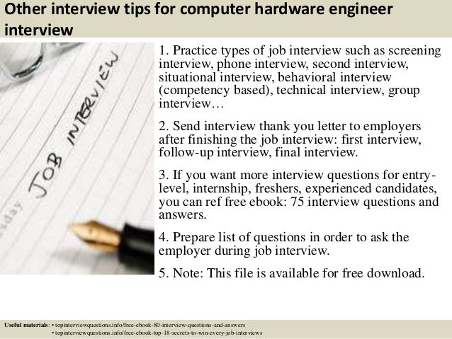 16 other interview tips for computer hardware engineer