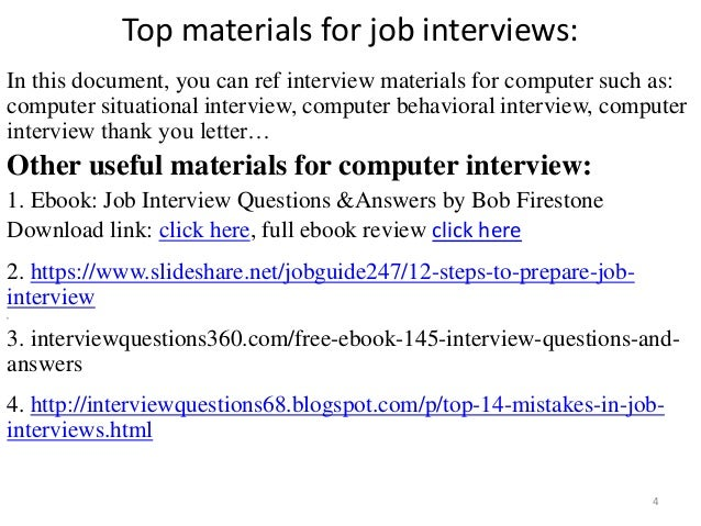 ... Tips To Prepare For Computer Interview; 4. Top Materials For Job ...