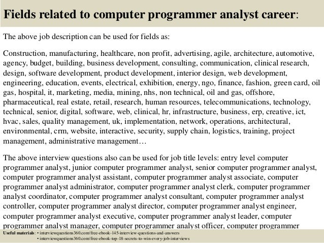 Top  Computer Programmer Analyst Interview Questions And Answers