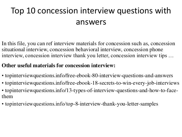 Top 10 concession interview questions with answers