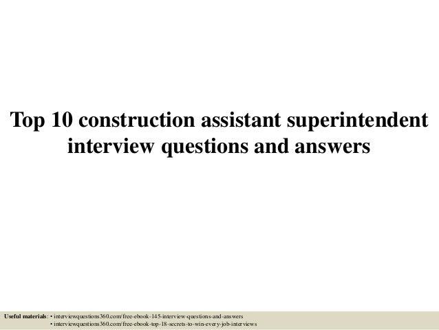 Top 10 construction assistant superintendent interview questions and – Construction Superintendent Job Description