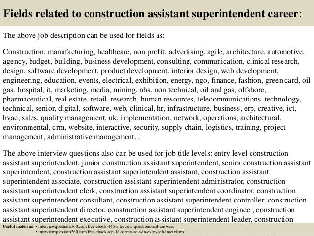 ... 18. Fields Related To Construction Assistant Superintendent Career: The  Above Job Description ...