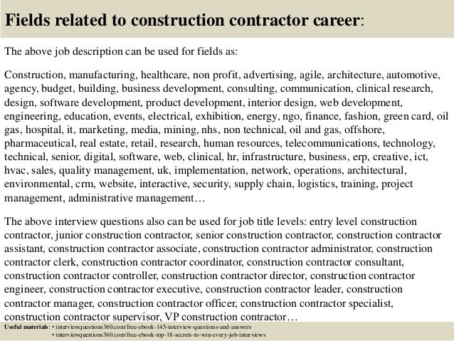 Top  Construction Contractor Interview Questions And Answers