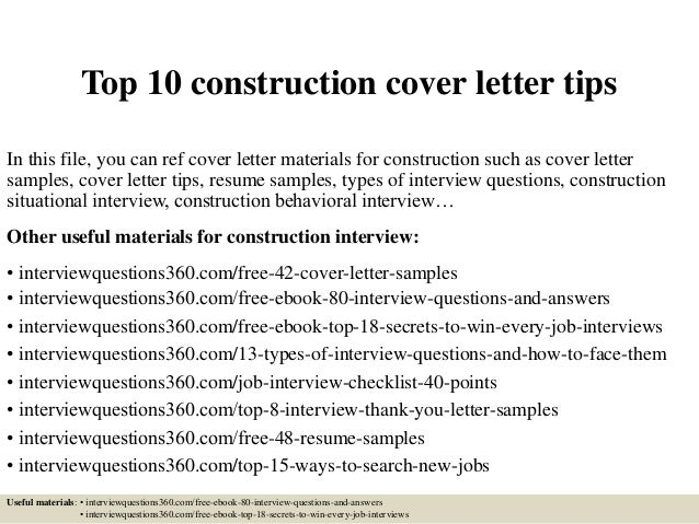 top 10 construction cover letter tips in this file you can ref cover letter materials - Cover Letter Images
