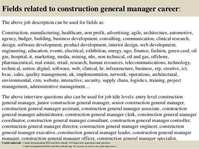 Top 10 construction general manager interview questions and answers