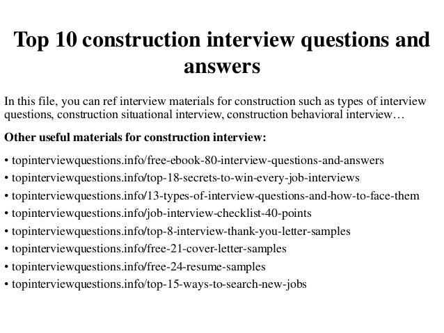 Interview Questions Construction Interview Questions    Ghanaphotos.us    High Quality Resume Template