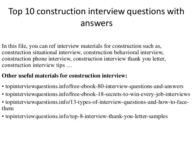 Top 10 Construction Interview Questions With Answers In This File, You Can  Ref Interview Materials