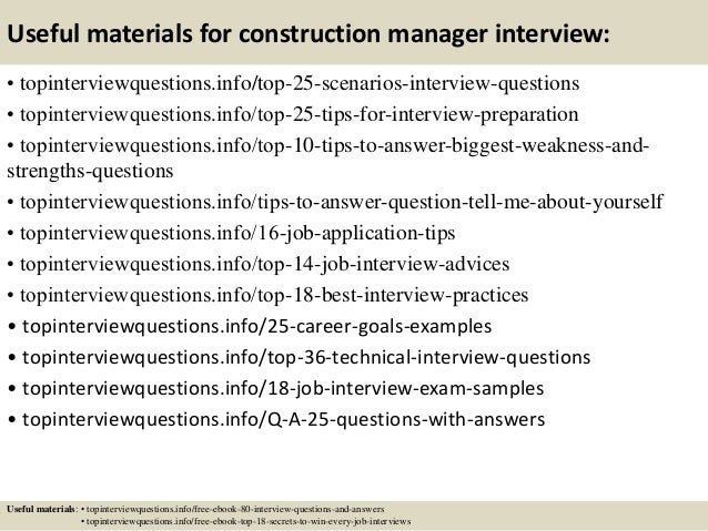 Delightful ... 13. Useful Materials For Construction Manager Interview: ...