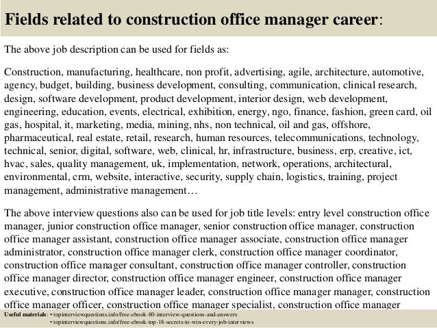 Top 10 construction office manager interview questions and - Sales office manager job description ...