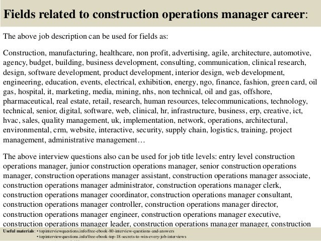 ... 17. Fields Related To Construction Operations Manager Career: The Above Job  Description ...