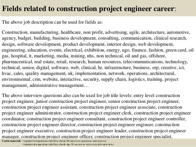 Great ... 17. Fields Related To Construction Project Engineer Career: The Above Job  Description ...