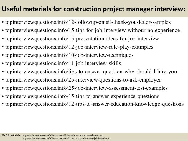 construction project manager interview questions and answers pdf