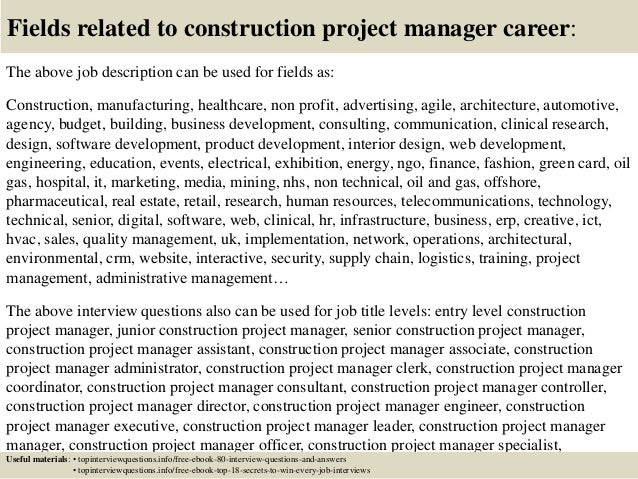 ... 17. Fields Related To Construction Project Manager Career: The Above Job  Description ...