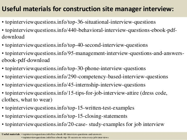 ... 12. Useful Materials For Construction Site Manager Interview: ...