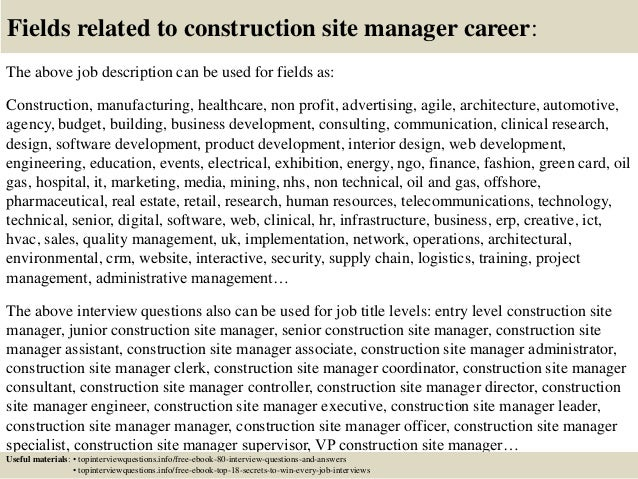 Top  Construction Site Manager Interview Questions And Answers