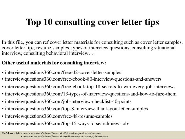 Top 10 Consulting Cover Letter Tips In This File, You Can Ref Cover Letter  Materials ...