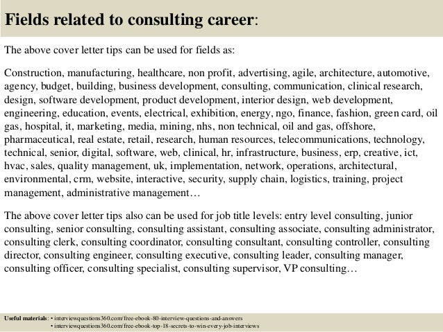 ... 16. Fields Related To Consulting Career: The Above Cover Letter ...