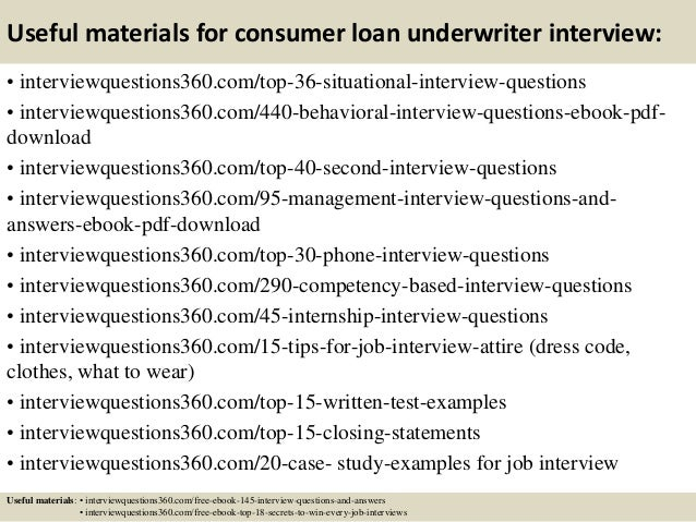 ... 13. Useful Materials For Consumer Loan Underwriter Interview: ...