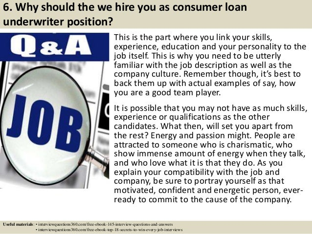 Top  Consumer Loan Underwriter Interview Questions And Answers