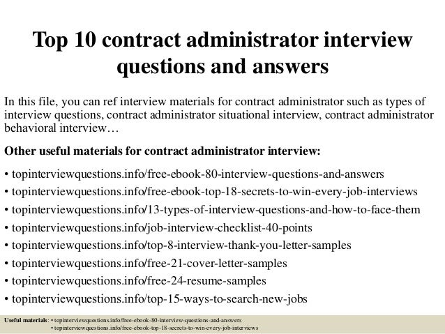top 10 contract administrator interview questions and answers in this file you can ref interview - Contract Administration Sample Resume