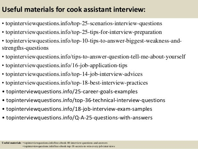 Awesome ... 13. Useful Materials For Cook Assistant Interview: ...