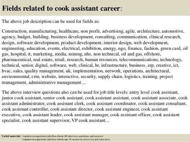 Top 10 cook assistant interview questions and answers