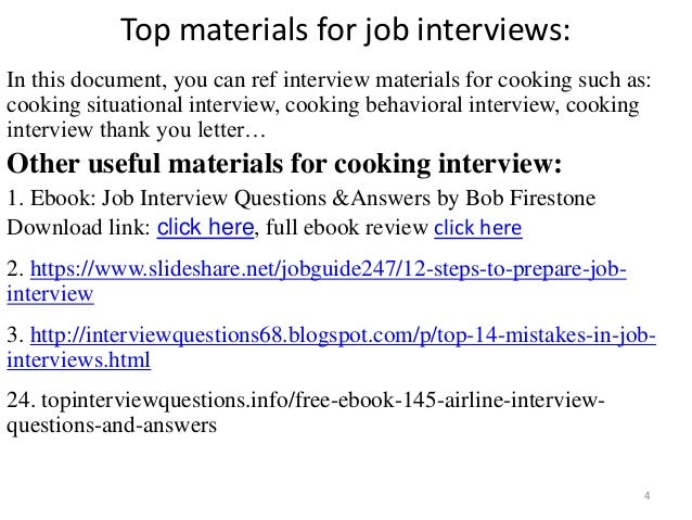 ... Tips To Prepare For Cooking Interview; 4. Top Materials For Job ...