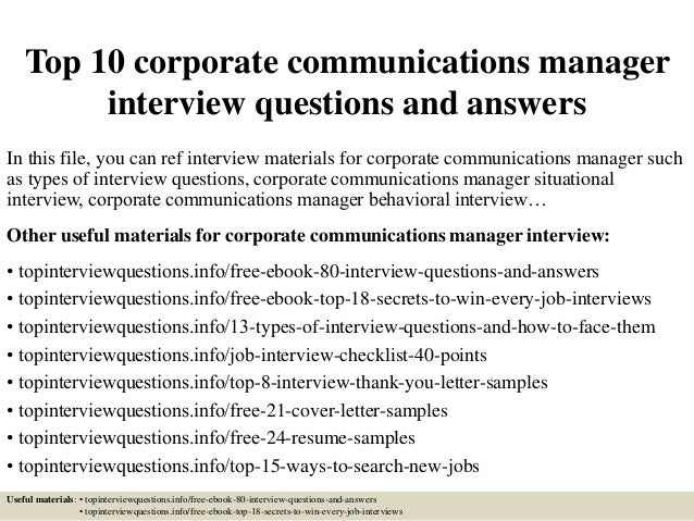 Top 10 corporate communications manager interview questions and answe…