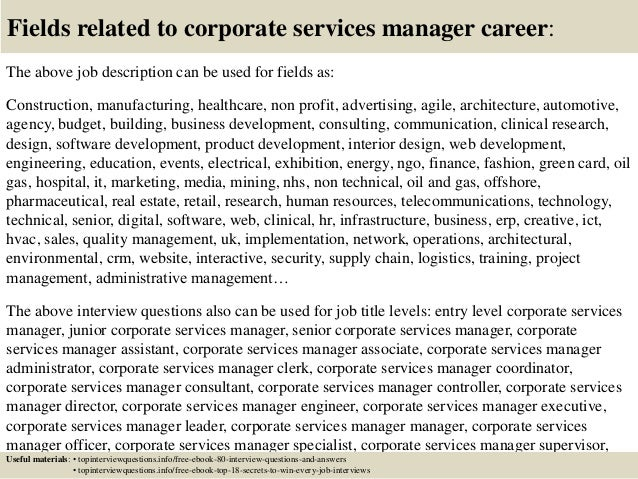 top 10 corporate services manager interview questions and