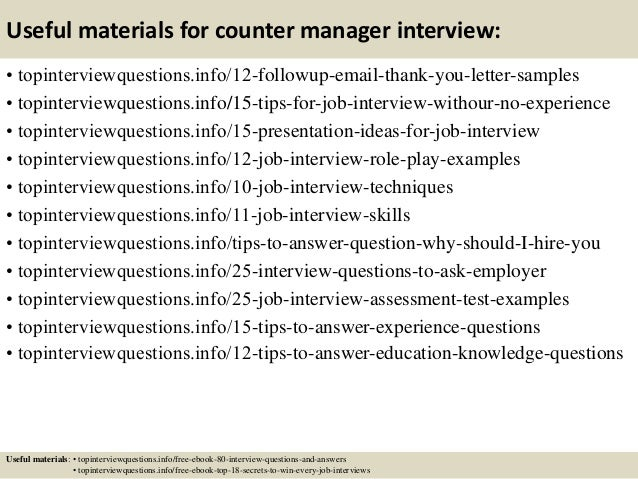 Top 10 counter manager interview questions and answers