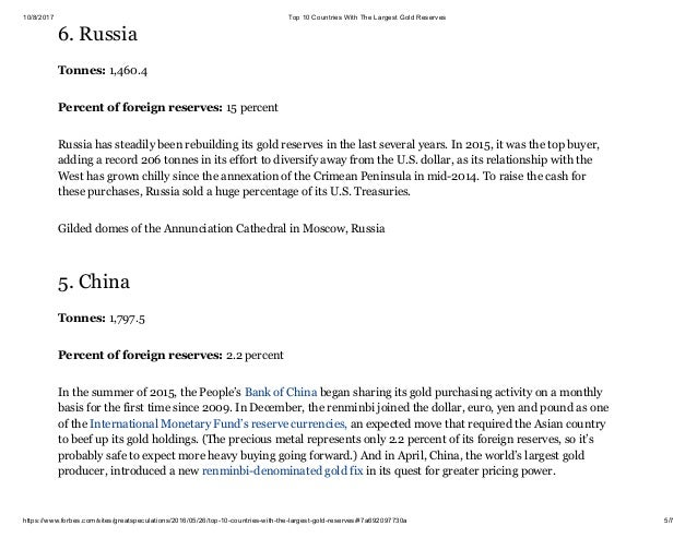 TOP COUNTRIES WITH THE LARGEST GOLD RESERVES - 10 countries with the largest gold reserves