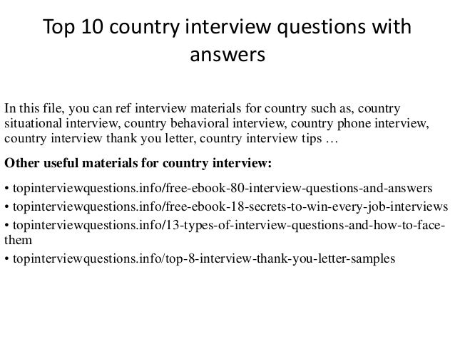 top 10 country interview questions with answers